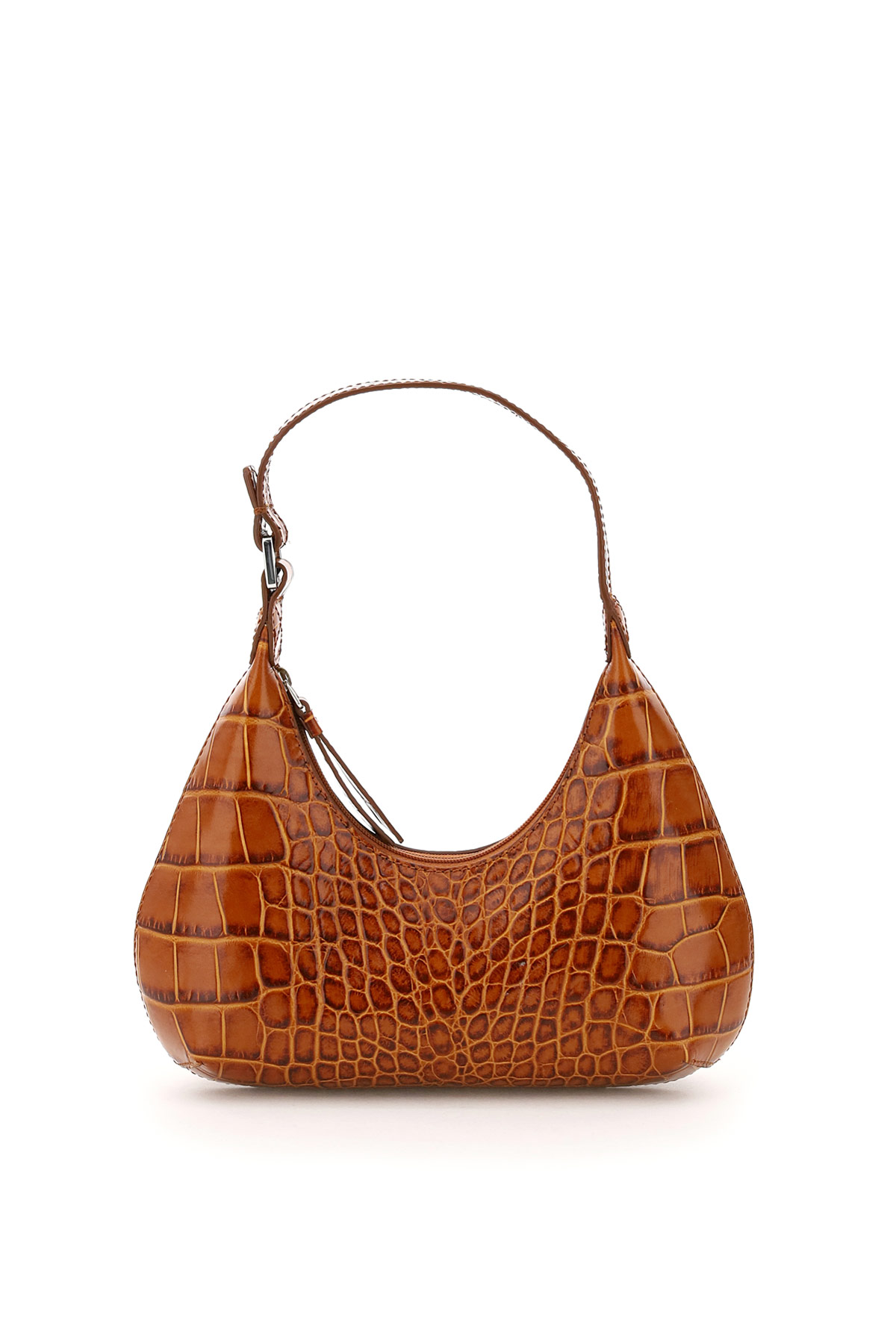 BY FAR AMBER CROCO LEATHER PRINT BAG