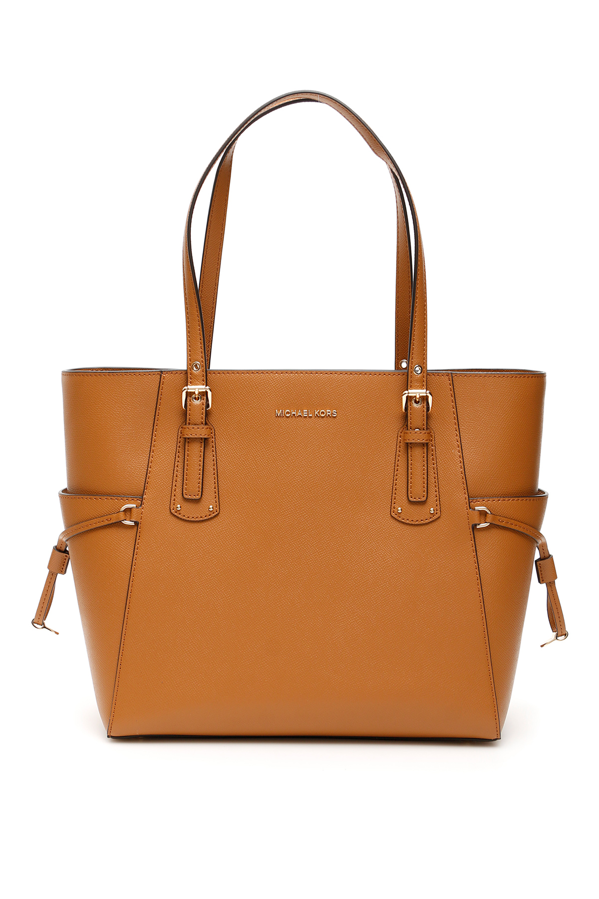 MICHAEL MICHAEL KORS VOYAGER LEATHER TOTE BAG OS Brown Leather