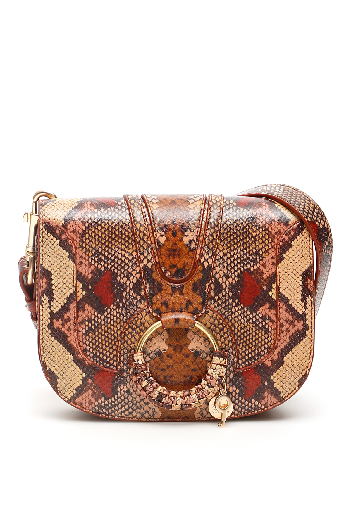 SEE BY CHLOE PYTHON PRINT HANA BAG OS Brown, Beige, Red Leather