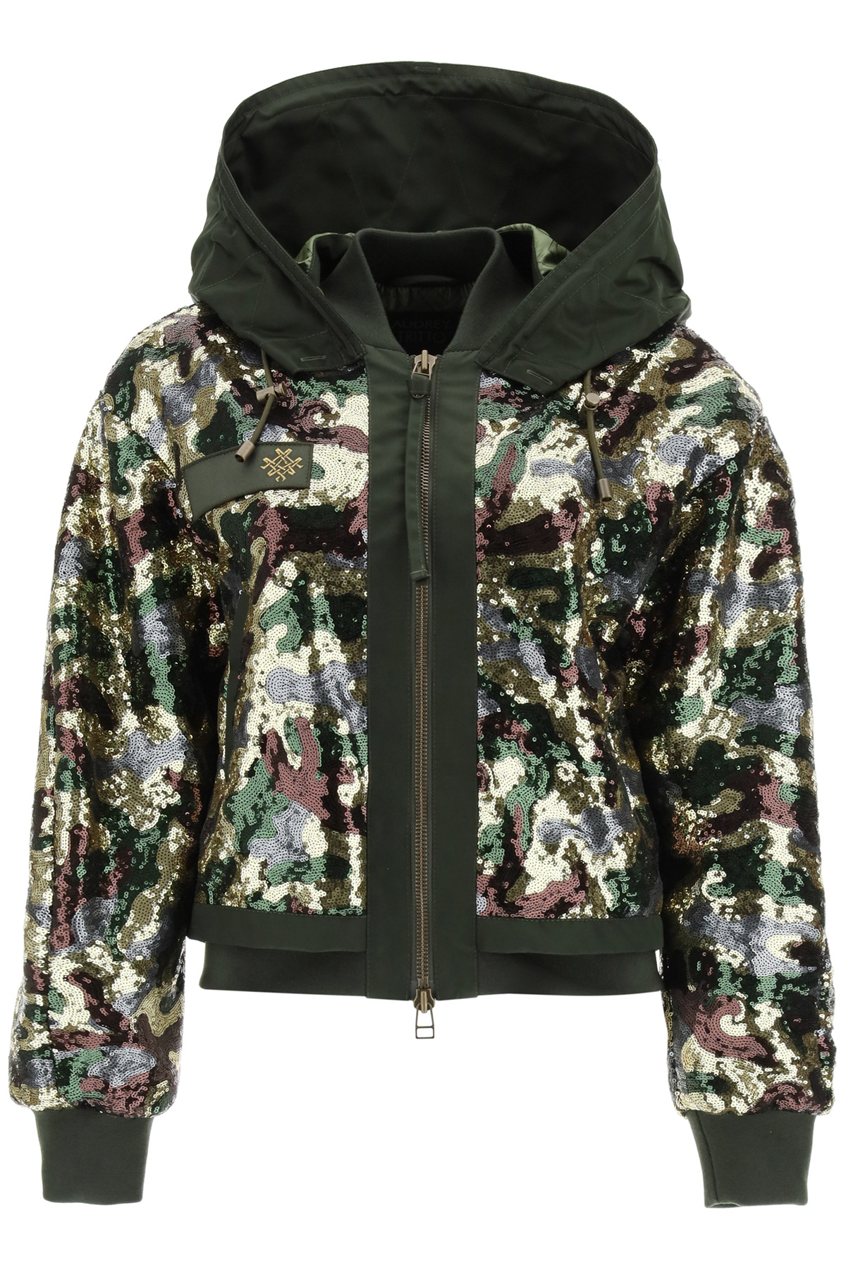Mr & Mrs Italy CAMOUFLAGE SEQUINED BOMBER JACKET