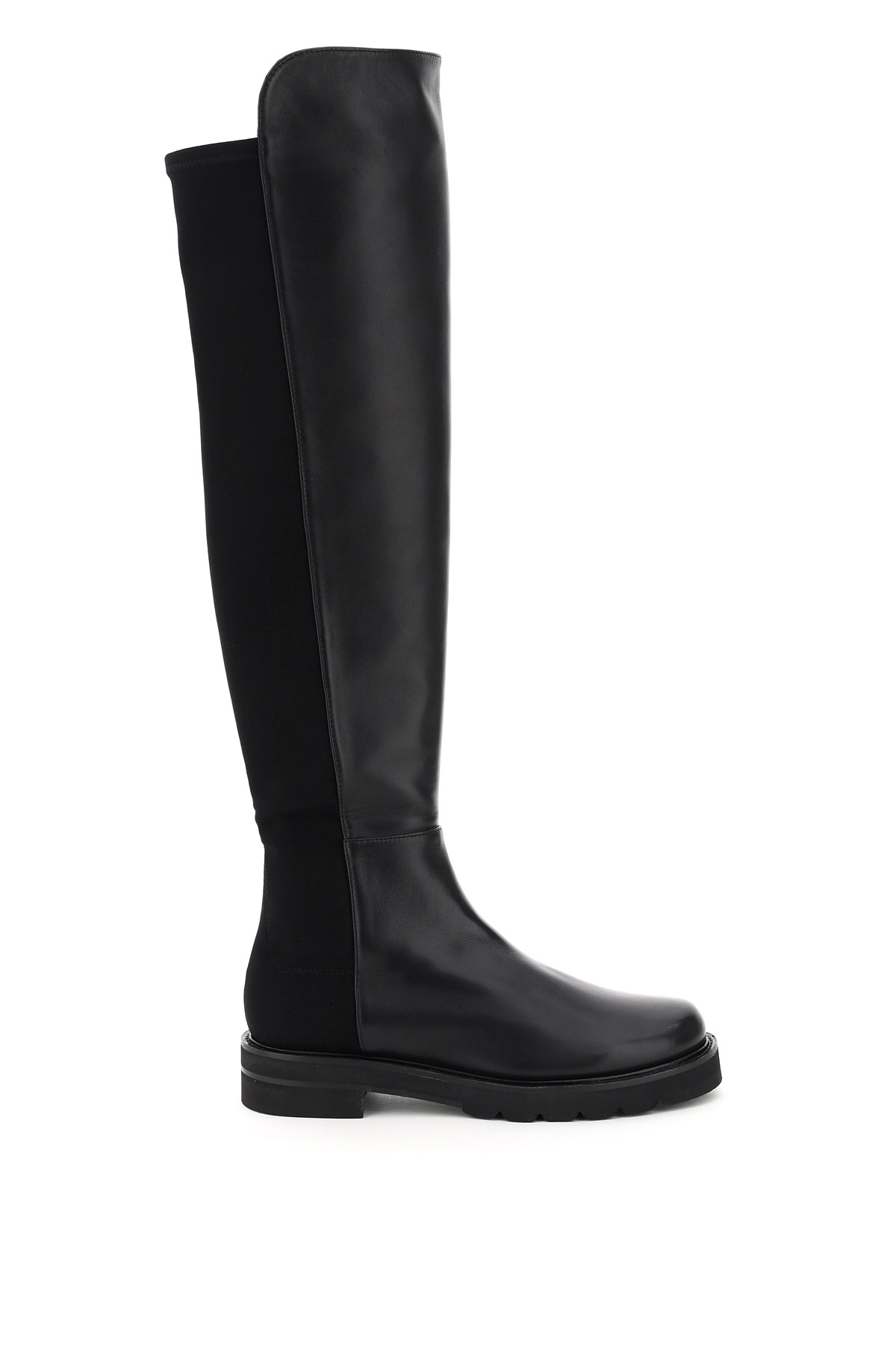 STUART WEITZMAN 5050 LIFT LEATHER AND STRETCH BOOTS