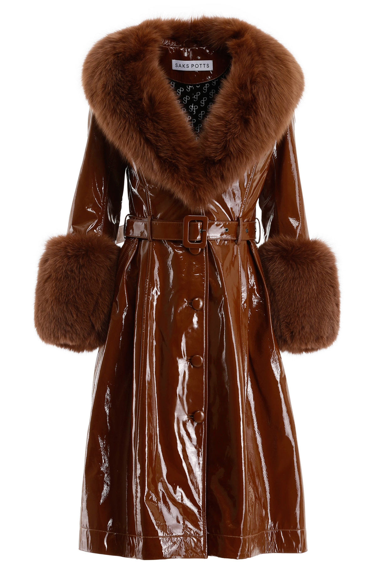 Saks Potts FOXY GLOSSY LEATHER COAT