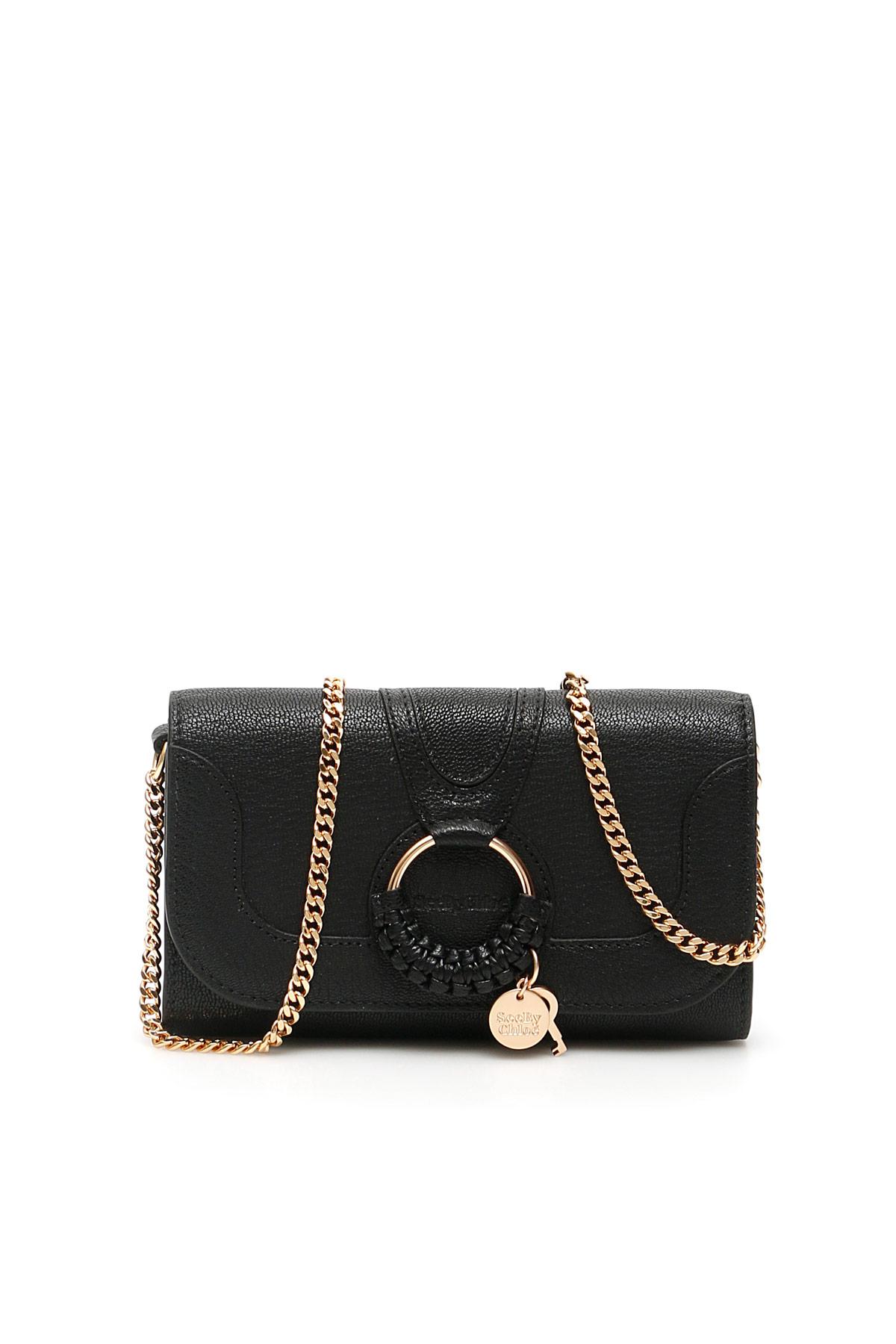 SEE BY CHLOE HANA LONG WALLET CHAIN MINI BAG OS Black Leather