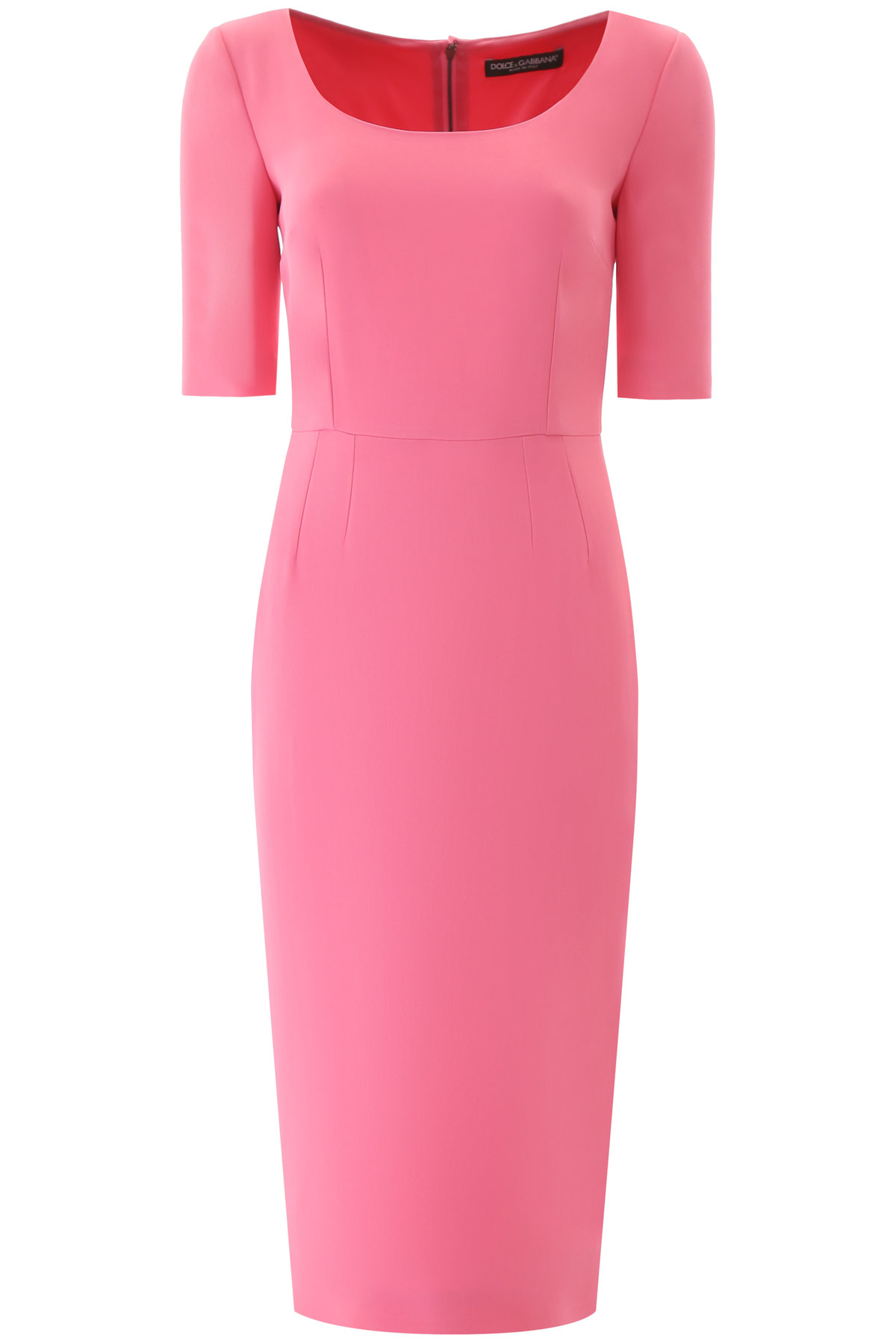 Dolce & Gabbana CrÊpe Sheath Midi Dress In Pink
