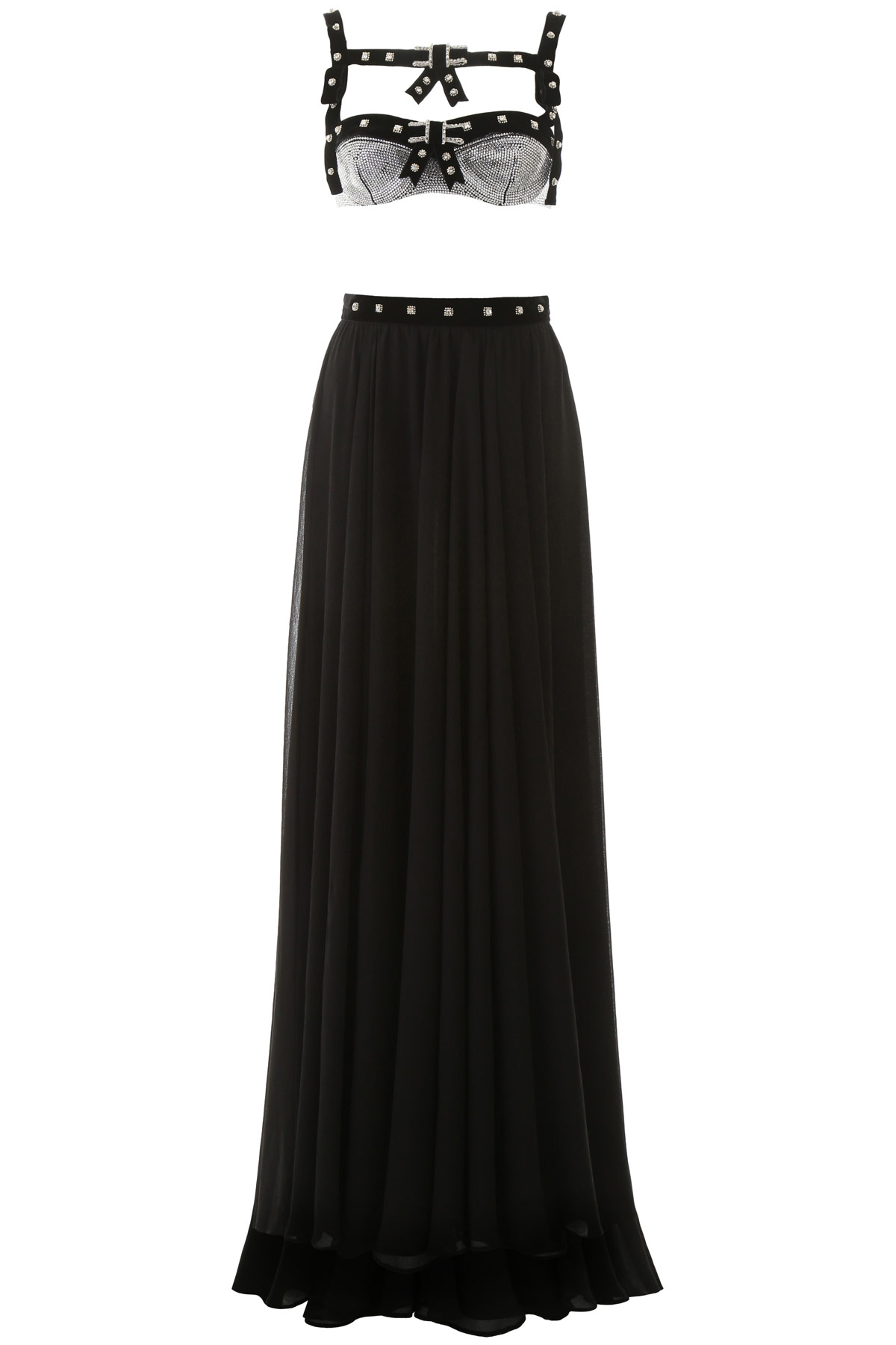 Philosophy Long Dress With Swarovski Crystals In Black