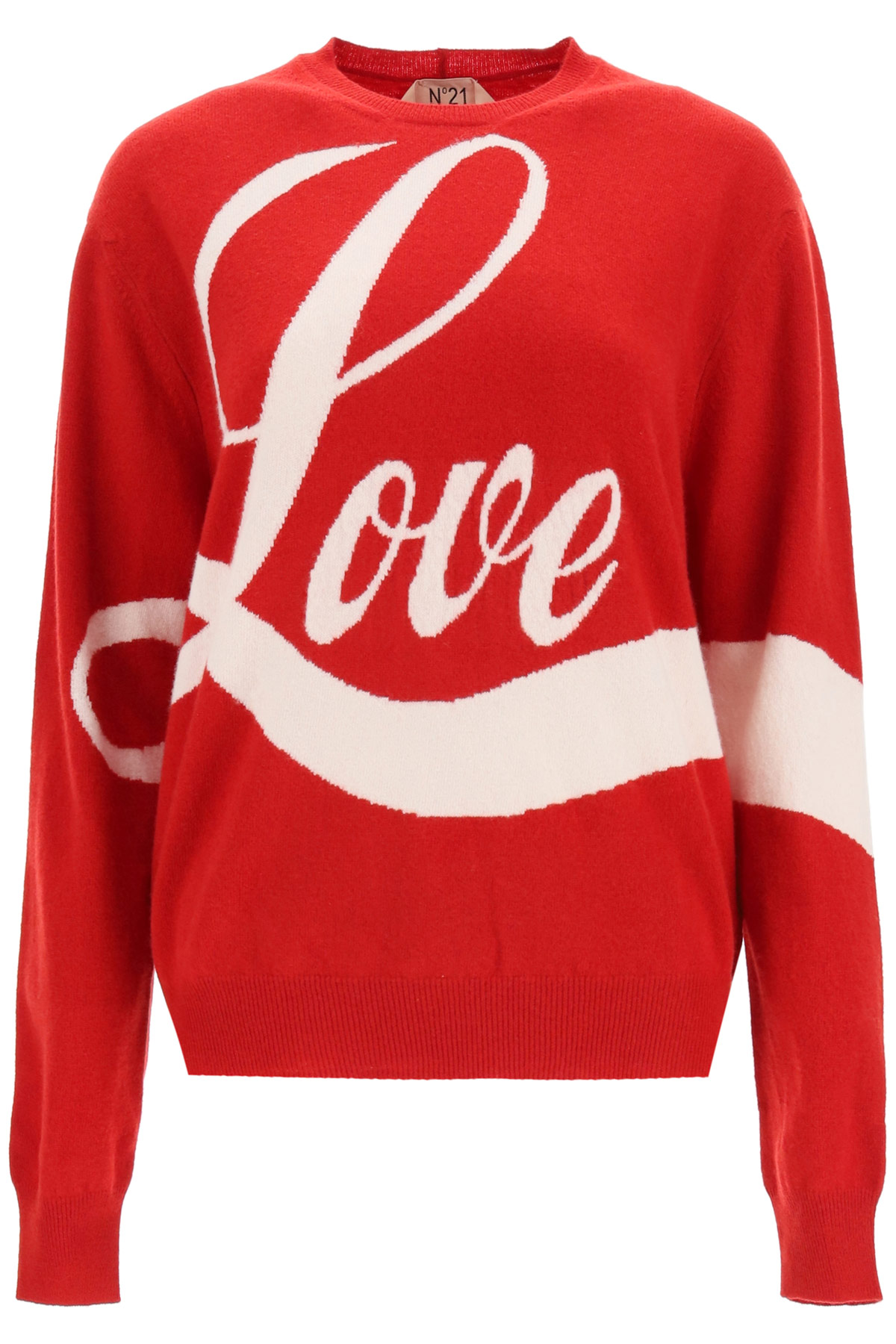 N.21 SWEATER WITH LOVE INTARSIA 42 Red, White Wool
