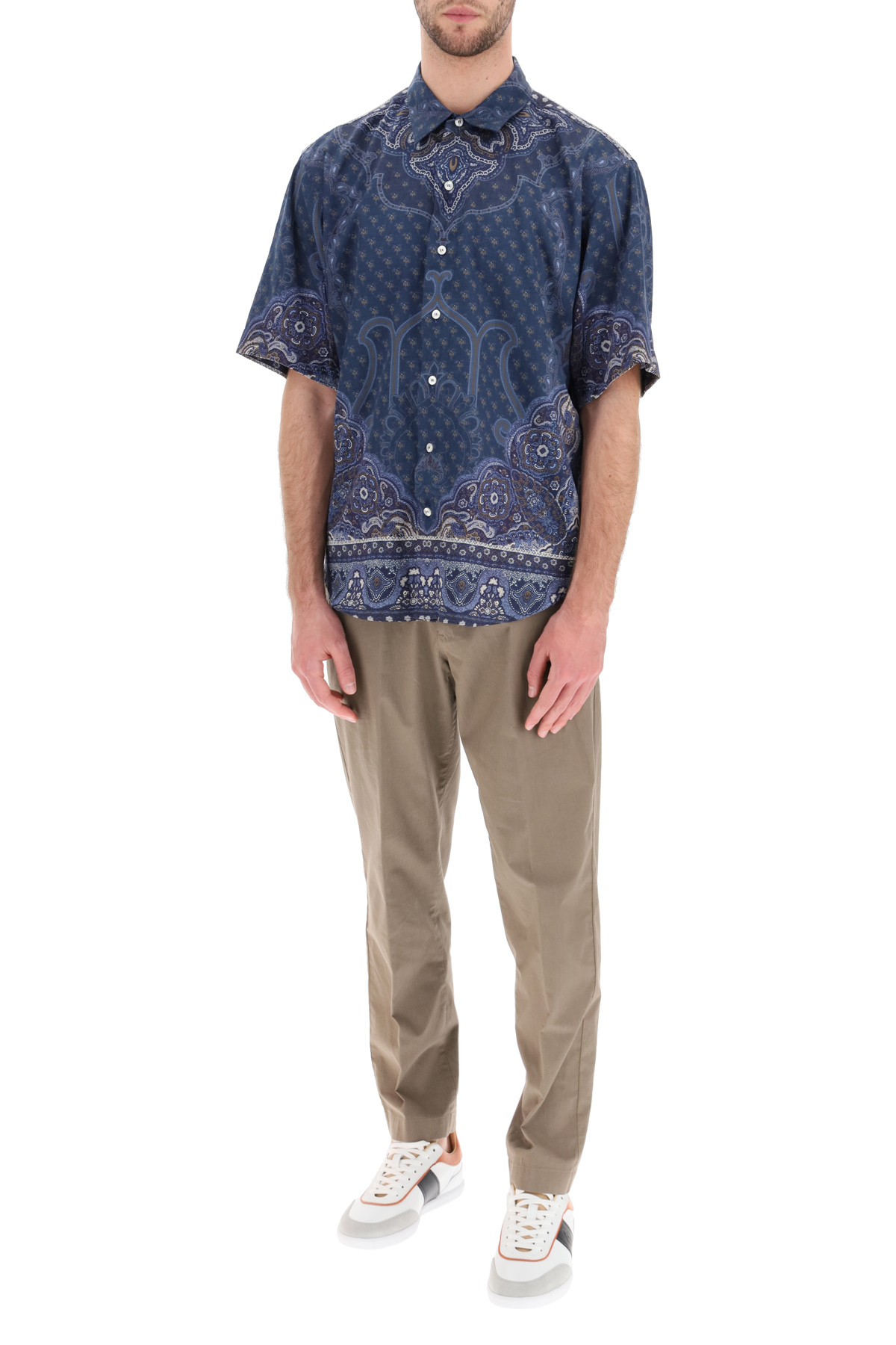 ETRO Cottons SCARF PRINT SHORT-SLEEVED SHIRT