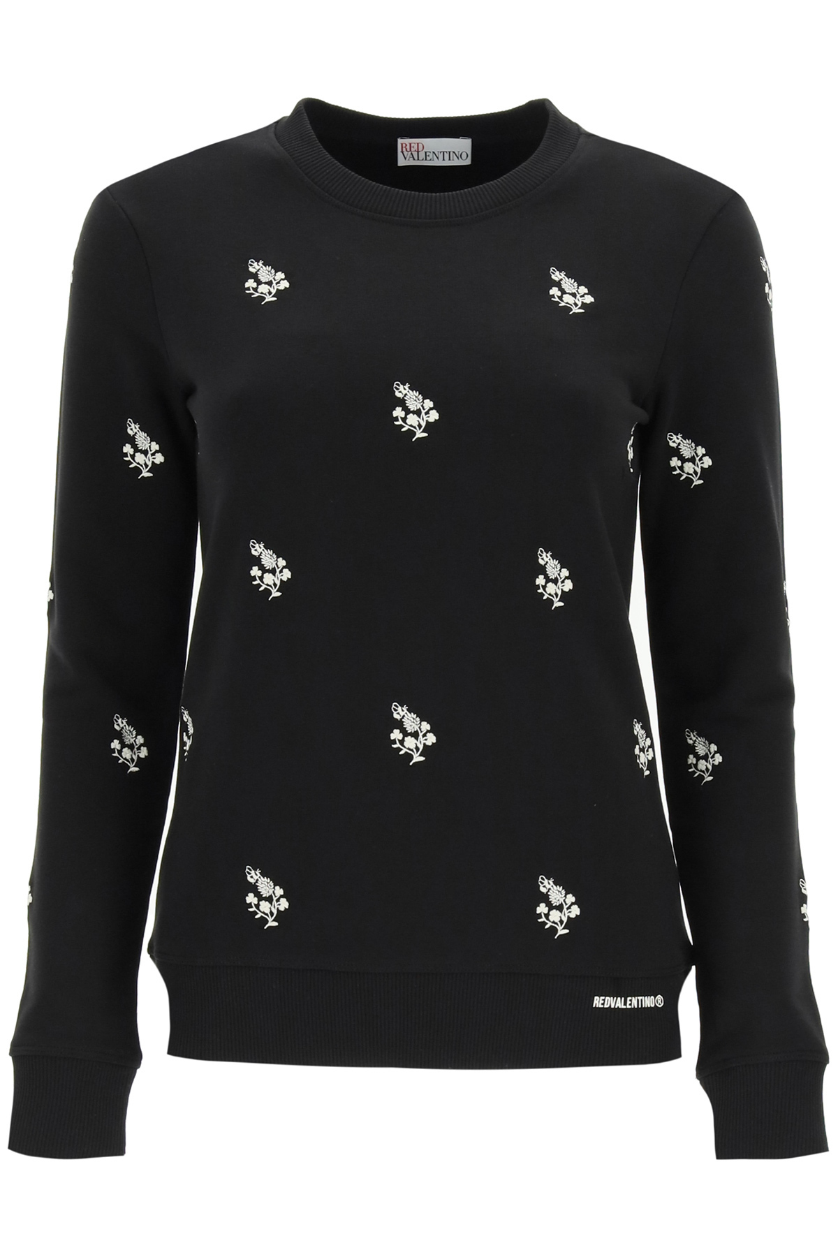 RED VALENTINO SWEATSHIRT WITH CLOVER EMBROIDERY