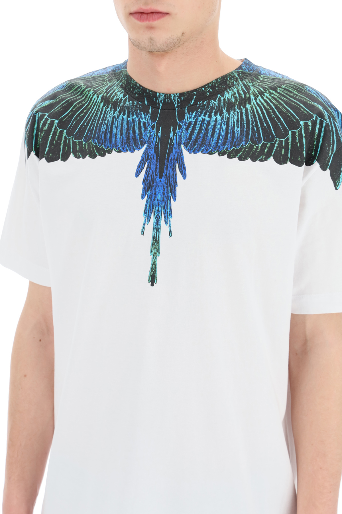 MARCELO BURLON COUNTY OF MILAN Cottons WINGS BLUE NEON PRINT T-SHIRT