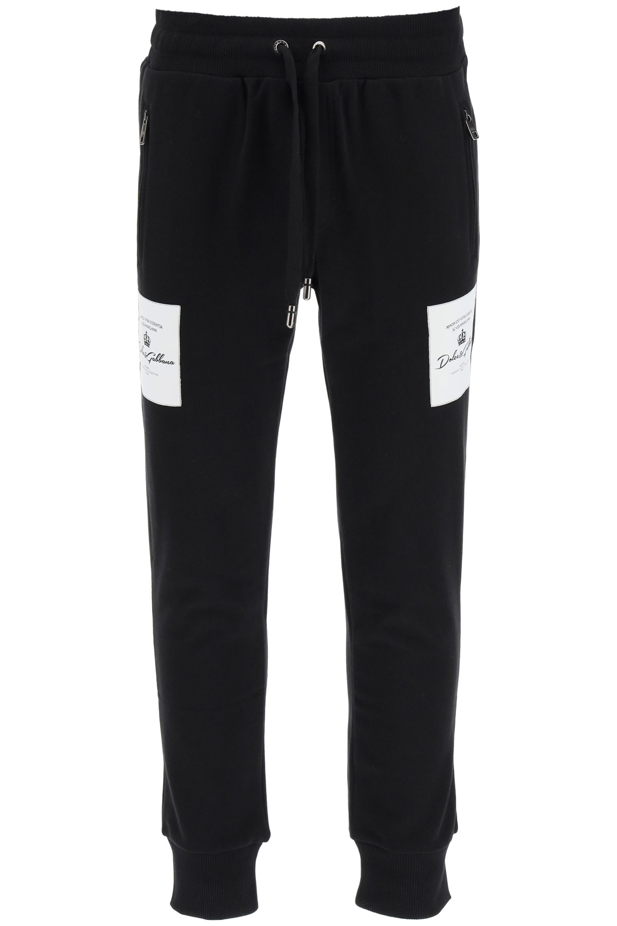 Dolce & Gabbana Sweatpants Logo Patches In Black